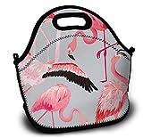 Mochila de neopreno para niños Tropical Flamingo Summer Pattern Lunch con correa ajustable para el hombro para niños y niñas