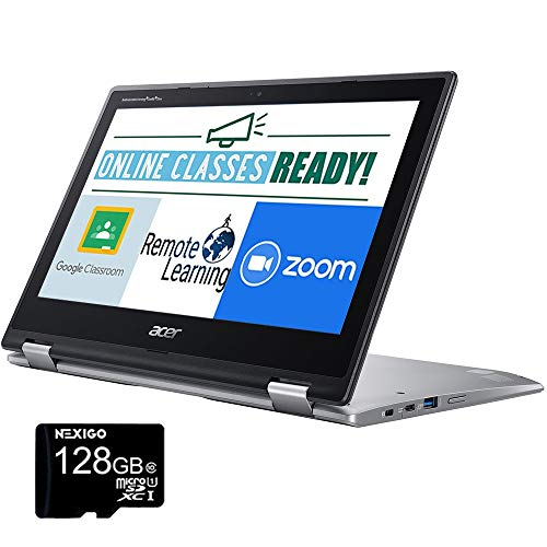 2020 Acer Chromebook Spin 11.6 Inch Touchscreen 2-in-1 Laptop, Intel Celeron N3350 up to 2.4 GHz, 4GB RAM, 32GB eMMC, Bluetooth, Webcam, Chrome OS + NexiGo 128GB MicroSD Card Bundle