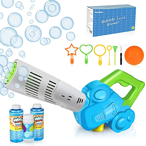 Bubble Machine for Kids, Bubble Leaf Blower Bubble Gun with 3 Pcs Refill Solution & Bubble Wands, Outdoor Bubble Maker Toys for Toddlers, Boys & Girls Gift, Age 3+