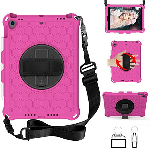 QYiD Kids Case for iPad Pro 9.7, Kids Friendly Light Weight EVA Shockproof Case Rotatable Strap, Pencil Holder & Shoulder Belt for iPad Pro 9.7 2016 Modle: A1674 / A1675 / A1673, RoseRed/Black