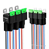 Kohree 12V 4-Pin Relay Switch Harness 6 Pack, 30A Fuse Auto SPST Bosch Style Relay 12 Volt 30 Amp with 14 AWG 16 AWG Harness Hot Wires Kit