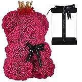LEO AND GIO Orso di Rose Orsacchiotto Orsetto di Rose 25 cm (Rosso Vino, Senza LED)