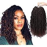 Liyate Bomb Twist Crochet Hair 14 Inch 6 Packs Spring Twist Braiding Hair Pretwisted Passion Twist Crochet Braids Passion Twist Mini Twist Hair with Curly End(1B/33)