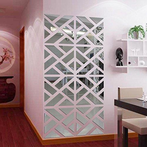 Wandaufkleber 3D Spiegel Geometrische Figur,32 PC Hevoiok Modern Wandtattoo Wandsticker Startseite Decals Tapete für Wohnzimmer Schlafzimmer Dekoration (Silber)
