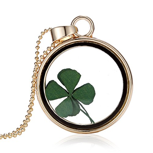 Feilok Simple Transparent Dried Four Leaves Clover Crystal Gold Color Round Chain Long Pendant Necklace for Women…