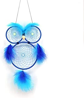 HOUTBY Dream Catcher Owl Luminous Feather Glow in The Dark Hanging Wall Craft Handmade Dreamcatchers Room Decoration