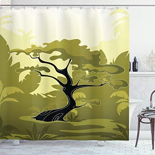 ABAKUHAUS olivgrün Duschvorhang, Japanischer Dschungel, mit 12 Ringe Set Wasserdicht Stielvoll Modern Farbfest & Schimmel Resistent, 175x240 cm, Hellgelb Olivengrün Schwarz