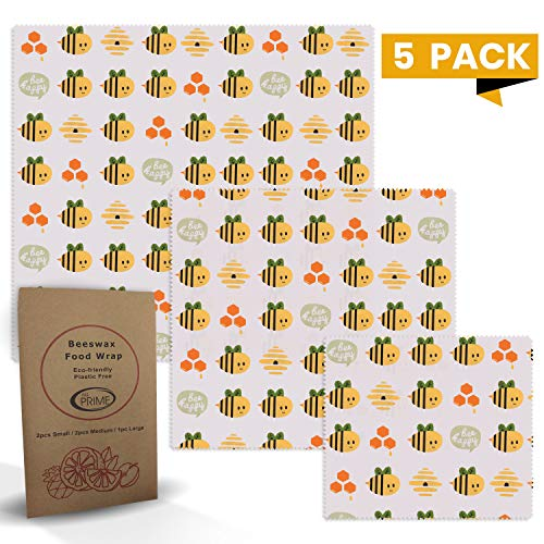 All Prime 5 Pack of Reusable Beeswax Food Wrap - 2 Small 2 Medium 1 Large Beeswax Wrap – Eco Friendly Beeswax Wrap - Bees Wrap Food Wrap For Your Kitchen