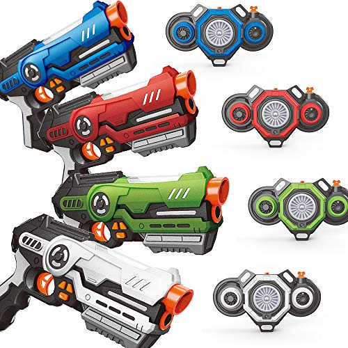 Soyee Laser Tag Set - Pack of 4 Infrared Blasters & Vests with Innovative Fog Effect - Outdoor Games Activities for Teenagers Age 8+ and Adults - Thrilling Kids Toy Gifts for Birthday Holiday