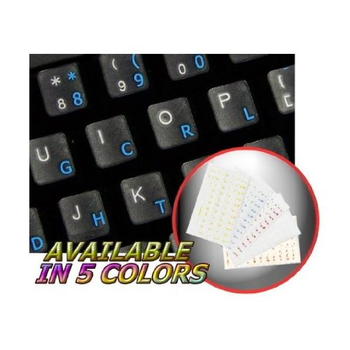 Dvorak Simplified Keyboard Stickers with Blue Lettering ON Transparent Background