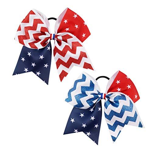 2pcs bowknot décor anneau de cheveux bande de décor de bande de caoutchouc pour fille enfant enfant (rouge, bleu, chaque couleur a 1pcs)