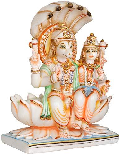 Exotic India Bhagawan Hayagriva con Devi Lakshmi con dosel Sheshanaga - Estatua de mármol blanco