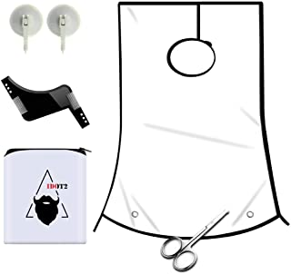 1DOT2 Professional Beard Shaving Apron and bib Hair Clippings Catcher & Grooming Cape Apron + Styling Template + Suction Cups for Men White New