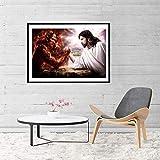 WJY Jesus Christus GEGEN Satan Leinwand Malerei Teufel