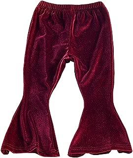 HUHUXXYY Infant Baby Girl Casual Warm Trouser Gold Velvet Flare Pant Bell-Bottom