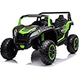 4x4 Ride On Buggy UTV 2 Seater Ride On Car 24V Ride On Truck with Remote Control Kids Electric Vehicle 4 Power Driving Wheels Toy Car Max 220lbs Load for Kids Teen, Bluetooth, Music Play, Green