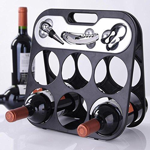 Bakaji botellero Porta Vino para 6 botellas con accesorios Somelier Luxury, Porta...