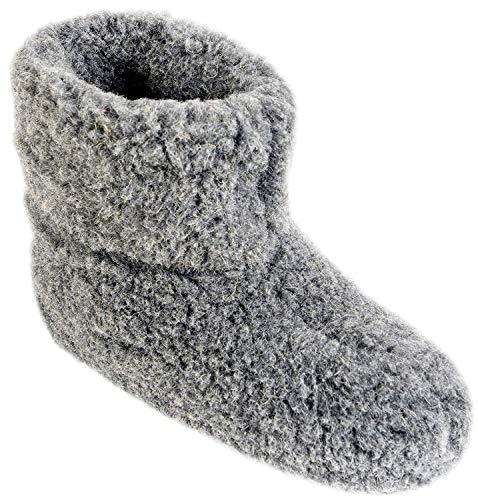 Estro Herren Damen Hausschuhe Reine Wollhausschuhe - Hüttenschuhe Stiefel Warm Winter Wolle Warme Winterhausschuhe Schafswolle Mit Fell Schafwolle OLE(46 EU, Graphit)