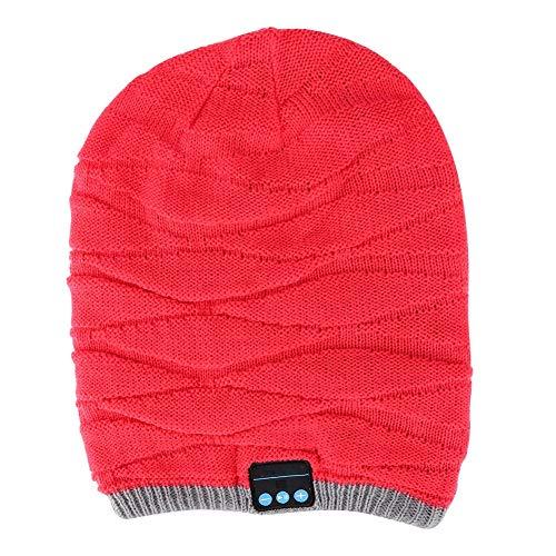 ASHATA, draadloze bluetooth-hoofdtelefoon, stereo-sportmuts met golvende lange muts, muziekdop, oproepdop voor de winter, voor workout/reizen, rood