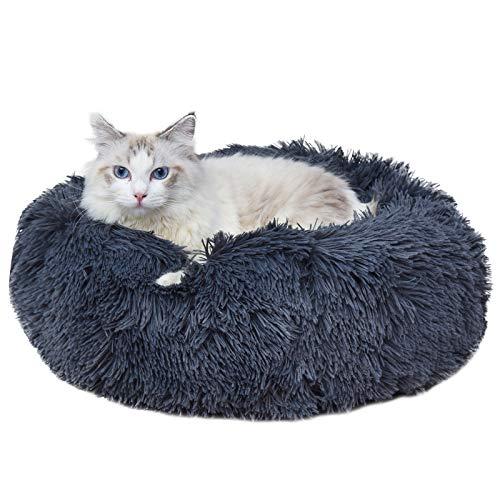 AGRLTOGD Haustierbett, Rundes Plüsch Hundebett-Katzenbett-Hundehaus-Welpen-Kissen, Doughnut-Form Klein Hund Bett Weich Katze Schlafen Bett, 60/70/80CM