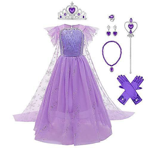 IWEMEK 7 pezzi, costume da regina di ghiaccio Elsa da principessa con mantello + accessori per Natale, Halloween, carnevale, feste di carnevale, per bambini dai 4 ai 9 anni Set viola. 4-5 Anni