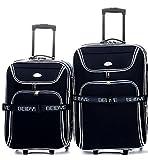 Trolley-Koffer-SET - 2-teilig - XXL-Volumen - 66+56cm, Dehnfalte - Schwarz