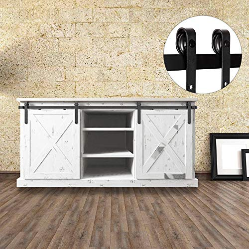 Antique Sliding Barn Door Hardware for Interior & Exterior, No Noise Modern Country Style Barn Wood Door Track Hardware Kit, Includes All Accessories (Shape I)
