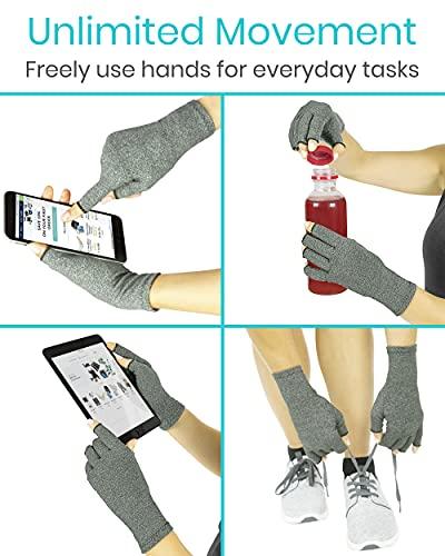 Arthritis Gloves by Vive - Compression Gloves for Rheumatoid & Osteoarthritis - Hand Gloves Provide Arthritic Joint Pain Symptom Relief - Men & Women - Open Finger