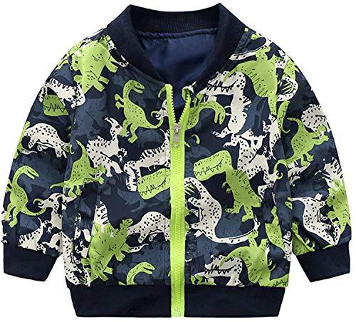 Kids Baby Boys Dinosaur Coat Outwear, Toddler Infant Baby Casual Long Sleeve Hooded Windbreaker Hoodie Zip-up Thin Jacket Clothes (# Dark Green,3T / 4T)