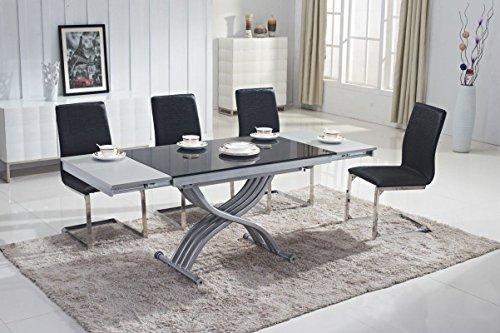 Mobilier Deco Table Basse Noir relevable en Verre avec rallonge (Table Transformable)
