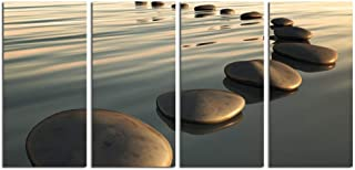 LevvArts - Zen Canvas Wall Art,Basalt Stone on The Sunset Relax Scenery Canvas Pictures for Living Room Decoration,Peaceful Water Multi Panel Wall Art Easy Hanging On - 48
