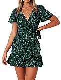 Naggoo Women's Summer Deep V-Neck Polka Dot Printed Ruffle Hem Wrap A Line Mini Dresses with Belt Green M (Apparel)