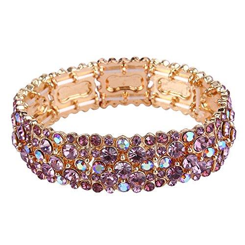 EVER FAITH Women's Rhinestone Crystal Stunning Wedding Banquet Stretch Bracelet Purple Gold-Tone