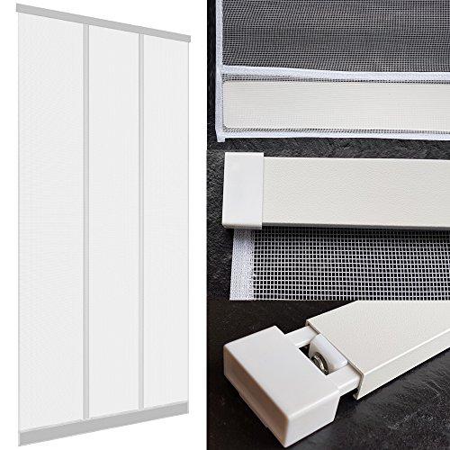 DILUMA | Insektenschutz Tür Vorhang 100x220 cm Weiß | Insektenvorhang mit Alu Klemmleiste | Ohne Bohren | mit Fiberglas Lamellen & Eingenähten Gewichten