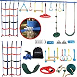 Ninja Warrior Obstacle Course for Kids, 65FT Ninja Line Slackline with 10 Complete Obstacles, Including Climbing Net, Swing, Spinning Wheel,Rope Ladder for Ninja Course Training Outdoor Play Equipment