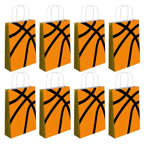 12 PCS Basketball Party Gift Bags, Basketball Themed Birthday Supplies Decorations, Basketball Pattern Gift Bag,Party Favor Goody Treat Candy Bag, Birthday Party Supplies for Kid Adult