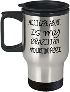 Brazilian Gifts Insulated Travel Mug - All I Care About - For Mom and Dad Cup for Coffee or Tea Cats Lover ak7934