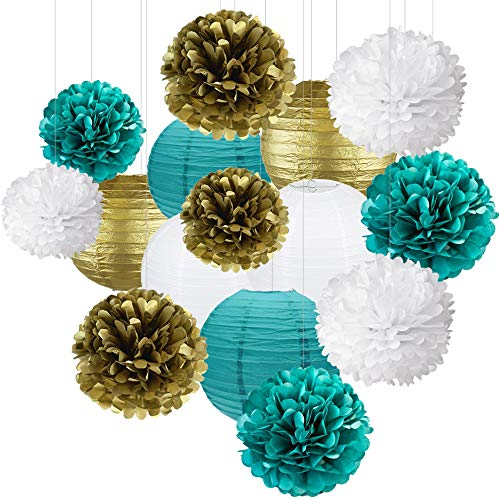 Teal White Bridal Shower Decorations 15pcs 10inch 8inch Tissue Paper Pom Poms Paper Lanterns Teal Themed Party Wedding Teal Blue Baby Shower Teal Wedding Decoration Mermaid Party Supplies