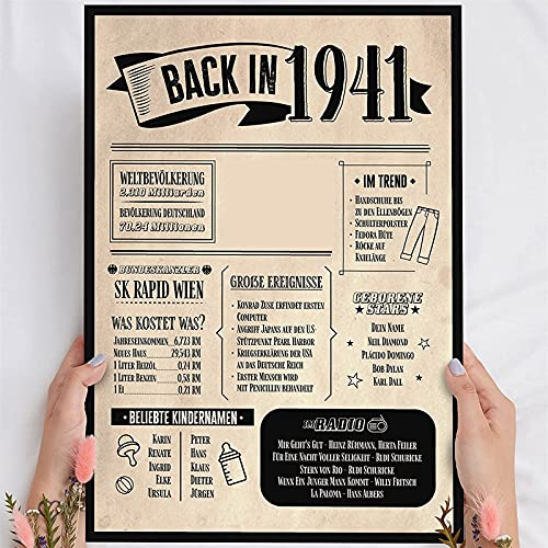 Holzbild Geschenk 80 Geburtstag 'Back in 1941' - personalisierbar zum Hinstellen/Aufhängen optional beleuchtet, 80 Geburtstag Frauen & Männer - Wand-Bild Aufsteller Dekoration - persönliches Geschenk