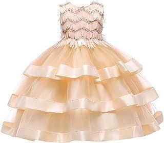 GFDGG 2019女の子のドレスプリンセスドレス子供のスカートスカートクリスマススカート子供ドレス (色 : Champagne, サイズ : 120cm)