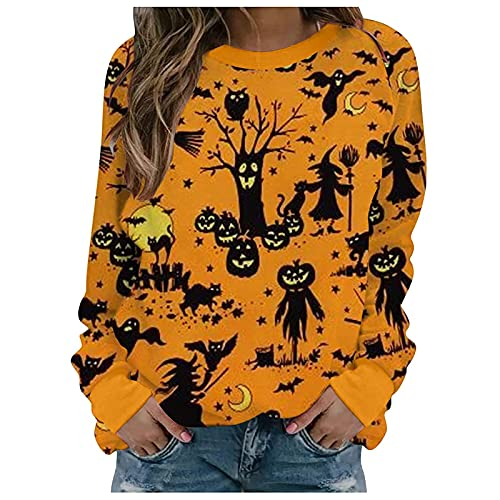 Halloween Festival Tops Surf Shirts Fashion Damen Casual Langarm Printed Damen Sweatshirt Tops Elegantes Hemd Damen Tunika Bluse