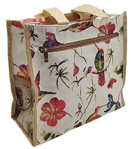ILKADIM Einkaufstasche, Stofftasche Leinen 30x27cm, Henkeltasche mit Reißverschluss, Motiv auswählbar, Einkaufsbeutel Gobelin-Stil (creme bunt Kolibri)