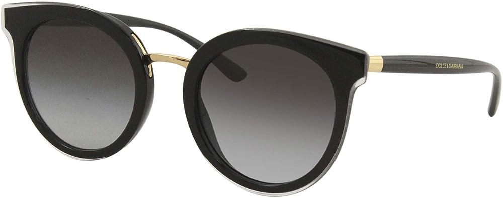 Occhiali da sole dolce & gabbana per donna, montatura in fibra di nylon color nero, lenti nero sfumate DG4371 5383-8G