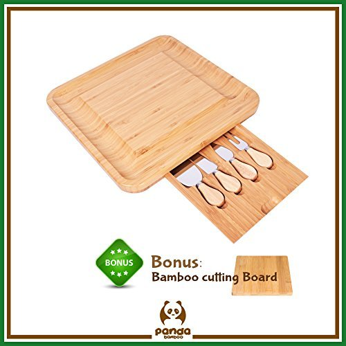 Bamboo Cheese Board Cutlery Set Slide Out Drawer by Bamboo Panda - Perfect Serving Tray with 4 Stainless Steel Cutlery Knife Set Perfect Gift for Kitchen