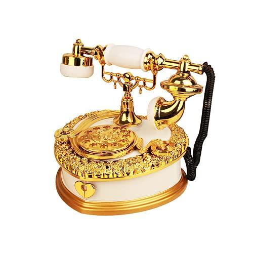 PAYNAN Caja de música retro modelo de teléfono regalo de cumpleaños decoración del hogar caja de música de manivela de madera