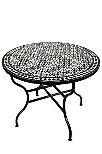 ORIGINAL Marokkanischer Mosaiktisch Gartentisch ø 100cm Groß rund klappbar | Runder klappbarer Mosaik Esstisch Mediterran | als Klapptisch für Balkon oder Garten | (Albaicin Schwarz Weiss)