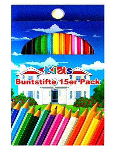 2x 15 Stück Buntstifte mit 15 Farben Malstifte Kinderstifte Zeichenstifte