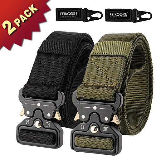 FEIKCOR 2 PCS Tactical Belt Unisex Nylon Heavy Duty Taillengürtel verstellbar Military Style Webgürtel mit Metallschnalle, Black + Green