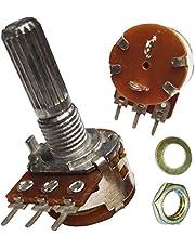 B100K ohm con interruptor SPST 100 K ohm B104 mono lineal moleteado de lin eje estriado giratorio Potenciómetro cacerola: 20 mm