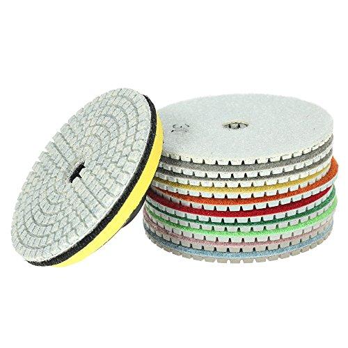 Lechnical Discos de pulido húmedos, 11 unidades de discos de pulido de diamante y 1 almohadilla de apoyo para granito, mármol, piedra, azulejos de cerámica y hormigón.